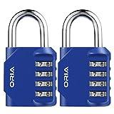 ORIA 2 Pack Kombinations Zahlenschloss, 4-StelligesKombinationsschloss Vorhängeschloss, Gym Lock Steel Combination Lock für Schule, Gym & Sports Locker, Case Aktenschränke, Angestellte - Blau