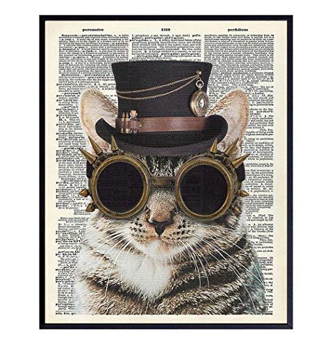 Steampunk Cat Wall Art - Funny Goth Cat Wall Decor Print for Bedroom, Veterinarian Office - Gift for Vet, Boys, Men, Teens, Women, Kitty, Kitten, Feline, Pet, Cat Lovers - Unique Gothic Dictionary Art