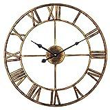 SkyNature Große Metall Wanduhr, Europäische Vintage-Wanduhr mit römischen Ziffern, Indoor-Silent-batteriebetriebene Dekor Uhr für Zuhause, Loft, Wohnzimmer, Schlafzimmer, Café - 45 cm, Gold