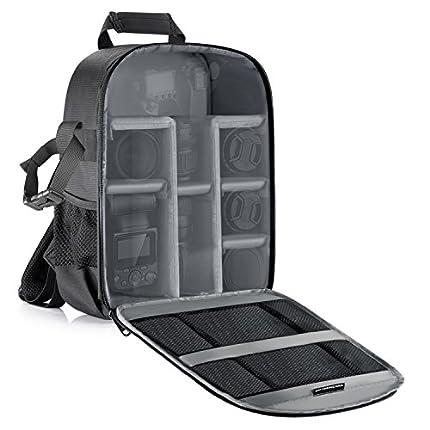 Neewer Mochila para cámara flexible acolchada con separadores con protector antigolpes, para cámaras SLR y otros accesorios, interior gris