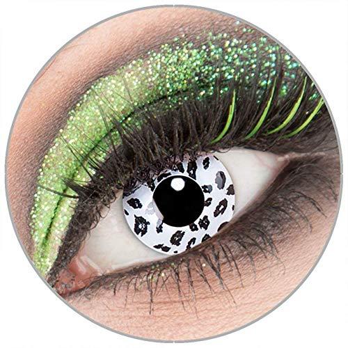 Farbige weiß schwarze 'White Leopard' Kontaktlinsen ohne Stärke 1 Paar Crazy Fun Kontaktlinsen mit Behälter zu Fasching Karneval Halloween - Topqualität von 'Giftauge'