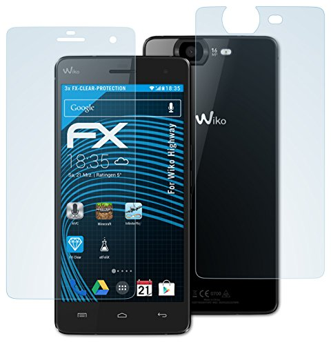 atFolix Schutzfolie kompatibel mit Wiko Highway Folie, ultraklare FX Bildschirmschutzfolie (3er Set)