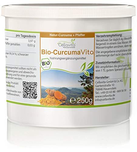 Unbekannt CELLAVITA Curcuma Vita 2-Monatsvorrat 250g | Bio Curcumapulver & schwarzer Pfeffer | Kurkuma | Gelber Ingwer/Safranwurz