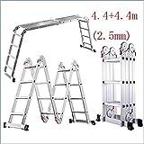 JF-XUAN Escalera, multi-función de escalera de aluminio, 150 kg Capacidad de carga (330lb), apto for interiores y exteriores escalera de bricolaje Materiales de construcción