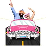MALLMALL6 1950s Car Backdrop Cars Photo Booth Prop Classic Pink Car Background Banner Flag for 1950 Car Birthday Party Supplies Decoration Sock Hop Decorations Rock and Roll Dance Party Room Decor