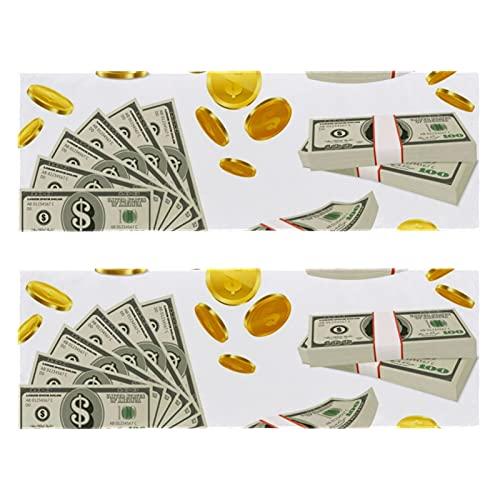 Fitness Gym Toallas monedas dinero Set estampado rápido microfibra deporte entrenamiento sudor toalla para hombres y mujeres paquete de 2