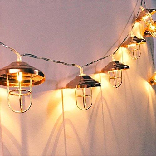 Vintage Lampenschirm Lichterketten,KINGCOO 20 LEDs Rosé Gold Metall Laterne Käfig Lichter Batteriebetriebene für Home Patio Garten Hochzeit(Warmweiß)