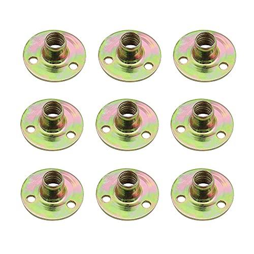 NewZC 20 Stück M8 3-Loch T-Nut Runde Nuss T Mutter Flansch 3 Loch Hardware-Fitting Befestigung Durch Loch Flansch Einsatz Innengewinde Einschraubmutter Flanschmuttern M8 für Feste Möbel
