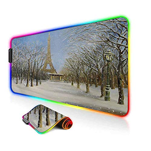 RGB Gaming Mouse Pad,Winter Scene of Historical Eiffel Tower in Paris Snowy City Europe Urban View Led Mousepad with Non-Slip Rubber Base,35.6'x15.7',for Game Players,Office,Study White Blue Grey