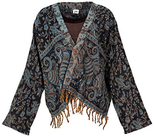 GURU SHOP Bolero - Chaqueta informal para mujer, color negro, sintética, talla: 40, estilo bohemio, ropa alternativa, negro/azul, 42
