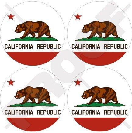 California Californian State Bär, American USA 50mm (5,1cm) Vinyl bumper-helmet Sticker, Aufkleber X4