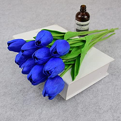 Sonze 10PCS tulipán Personas Hacen Flores, decoración del hogar Flores-Azul,Ramos de Novia, arreglos Florales,Flor Falsa para Boda Decoración