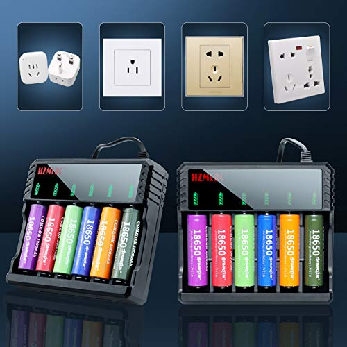 6 Bay 18650 Battery Charger Universal Wall Charger for 3.7v Lithium Rechargeable Batteries Compatible 18650 26650 14500 16340(RCR123) 10440 17670 18490 17500 17335 Lithium Battery Charger 6 Bay