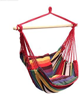 Zhoumin Hammock Chair Hanging Rope Swing - Max 265 Lbs - Seat Cushions Included Perfect for Outdoor Patio Yard Hanging Hammock