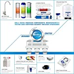 iSpring RCC7AK 6-Stage Under Sink Reverse Osmosis Drinking Water Filter System, NSF Certified, Superb Taste High… 13 Certified to NSF/ANSI 58, 6-Stage Alkaline Remineralization Layered Filtration: Exclusively designed to restore the natural alkalinity and mineral balance of water; this reliable and ultra-safe Reverse Osmosis (RO) water filtration system converts your water into clean, pure and healthy drinking water by removing up to 99% of over 1, 000 harmful contaminants like chlorine, fluoride, lead (removes up to 98%), arsenic, asbestos, calcium, sodium and more. BENEFITS: The iSpring RCC7AK water softener includes an additional sixth stage - an Alkaline Remineralization filter which restores healthy minerals and produces a balanced alkalinity, which gives your water a more natural taste than regular 5 stage RO water filter; the RO membrane removes not only harmful pollutants but also a few helpful minerals. As a result, a standard 5 stage RO system produces slightly acidic water with a pH of 7. 0 or below FEATURES: Beautiful European-Style kitchen faucet. Transparent 1st stage housing for easy visual inspection. Three extra long life pre-filters to remove large contaminants and protect RO membrane. Ultra fine (RO) filter to remove contaminants down to 0. 0001 microns; fine GAC filter to provide final polishing to the purified water and (AK) filter to finally restore just the right proportion of healthy minerals and a natural alkaline balance. The end result is great-tasting bottled-water quality