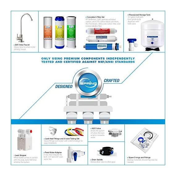 iSpring RCC7AK 6-Stage Under Sink Reverse Osmosis Drinking Water Filter System, NSF Certified, Superb Taste High… 4 Certified to NSF/ANSI 58, 6-Stage Alkaline Remineralization Layered Filtration: Exclusively designed to restore the natural alkalinity and mineral balance of water; this reliable and ultra-safe Reverse Osmosis (RO) water filtration system converts your water into clean, pure and healthy drinking water by removing up to 99% of over 1, 000 harmful contaminants like chlorine, fluoride, lead (removes up to 98%), arsenic, asbestos, calcium, sodium and more. BENEFITS: The iSpring RCC7AK water softener includes an additional sixth stage - an Alkaline Remineralization filter which restores healthy minerals and produces a balanced alkalinity, which gives your water a more natural taste than regular 5 stage RO water filter; the RO membrane removes not only harmful pollutants but also a few helpful minerals. As a result, a standard 5 stage RO system produces slightly acidic water with a pH of 7. 0 or below FEATURES: Beautiful European-Style kitchen faucet. Transparent 1st stage housing for easy visual inspection. Three extra long life pre-filters to remove large contaminants and protect RO membrane. Ultra fine (RO) filter to remove contaminants down to 0. 0001 microns; fine GAC filter to provide final polishing to the purified water and (AK) filter to finally restore just the right proportion of healthy minerals and a natural alkaline balance. The end result is great-tasting bottled-water quality