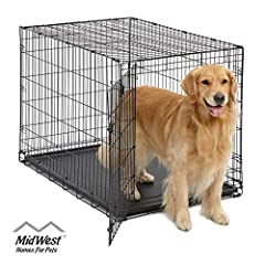 "Single door folding metal dog crate, iCrate measures 42 Length x 30 Width x 28 Height inches & is suitable for Large dog breeds Dog crate Includes a Free divider panel, durable dog tray, carrying handle, ""roller"" Feet to protect floors & a ""MidWest Q..."