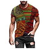 African Pride Traditional Ethnic Pattern Shirt Africa Graphics Printed t-Shirt Round Neck Fit Tee Tunic Blouse for Men Red
