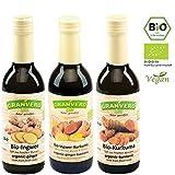 Granvero Bio Kurkumasaft, Ingwer-Kurkumasaft, Ingwersaft, 100% Direktsäfte, 3 x 250 ml, abgefüllt in Baden Württemberg, DE-ÖKO-006