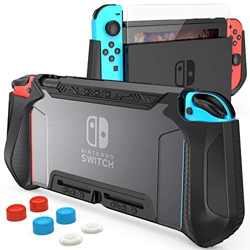 HEYSTOP Carcasa Compatible con Nintendo Switch, Funda Switch con Protectora TPU Grip Funda de Agarre la Consola de Pantalla Compatible con Nintendo Switch Console con 6 Agarres para el Pulgar