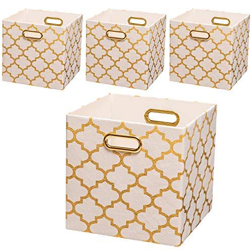 Posprica Collapsible Storage Bins11×11 Fabric Storage Baskets Set of 4 Cream-Gold Lantern