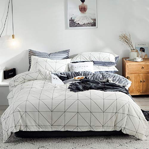 Luofanfei Baumwolle Bettwäsche King Size 220 x 240 cm 3 Teilig Kariert Bettbezug Streifen Geometrisch Schwartz und Weiß