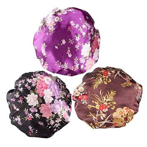 Artibetter 3 Pcs Élastique Bonnet de Couchage Bonnet Nuit Bonnet Tête Couverture Gommage Chapeau pour Femmes Filles Intérieur Maison Utilisation Quotidienne