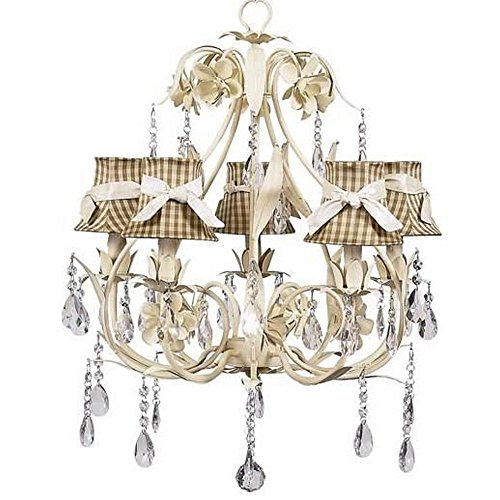 Jubilee Collection 7903-2726-301 5 Arm Ballroom Chandelier with Taupe Check Shade and Sash, Ivory