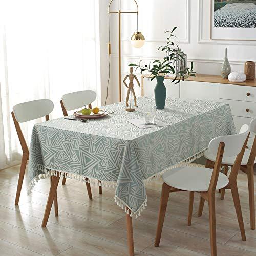 DSman Borla del Paño de Tabla del Lino del Algodón para la Cubierta de Tabla de Cena del Banquete Borla Jacquard triángulo imitación algodón y Lino