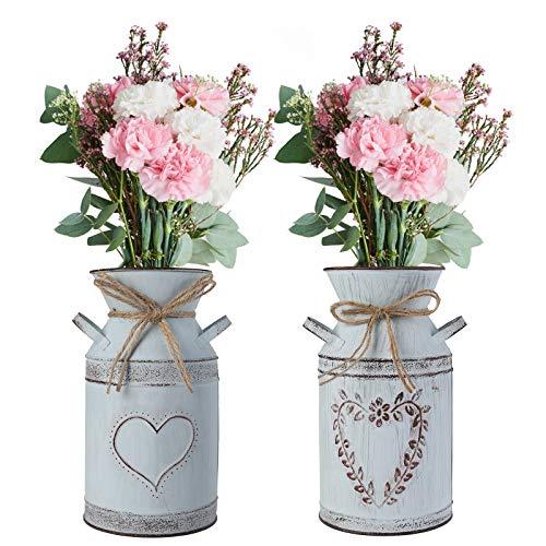 Ulikey 2 Pcs Vintage Blumenvase Herz Milchkanne, Eisen Blumentopf Shabby Deko, Übertopf Vase aus Zink, Landhausstil Vase Rustikal Blumeneimer für Garten Wohnzimmer Tischdeko