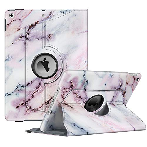 Fintie Rotating Case for New iPad 7th Generation 10.2 Inch 2019 - [Built-in Pencil Holder] 360 Degree Rotating Smart Protective Stand Cover with Auto Sleep/Wake for iPad 10.2' Tablet, Marble Pink