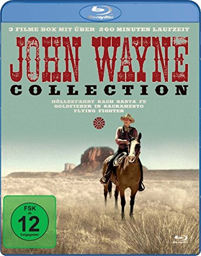 John Wayne Collection - 3 Filme mit über 260 Minuten Laufzeit (Höllenfahrt nach Santa Fe, Goldfieber in Sacramento, Flying Fighter) [Blu-ray]