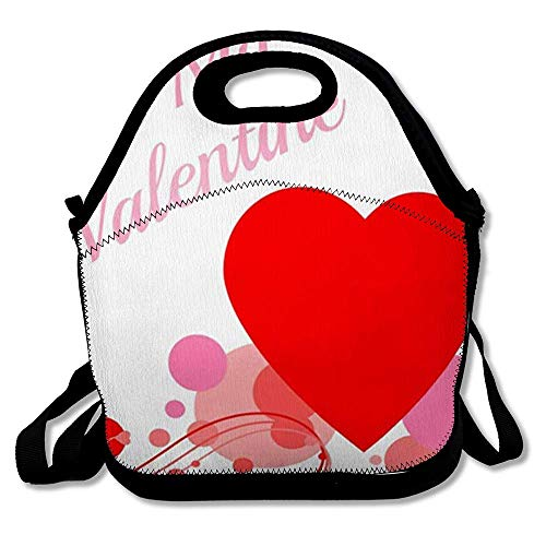 Reusable Lunch Bag for Men Women Swirls Pink Fancy Be My Valentine Filigree Bubbles Red Holidays Heart Love Valentine27s Design Insulated Lunch Tote for Travel Office School