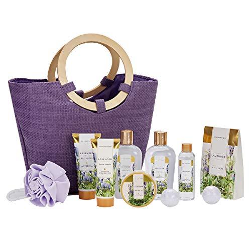 Bad Geschenkset Für Frauen, SPA LUXETIQUE Lavendel 10-teiliges Luxurlöse Badeset Für Sie, Enthält Duschgel, Schaumbad, Bodylotion, Badesalz, Körperpeeling und Mehr, Perfekte Geschenkidee für Frauen