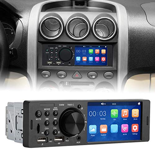 Reproductor de música Bluetooth, reproductor de tarjetas de memoria, reproductor de música de radio FM estéreo de pantalla táctil de 4 pulgadas Bluetooth MP5 HD para automóvil de 12 V