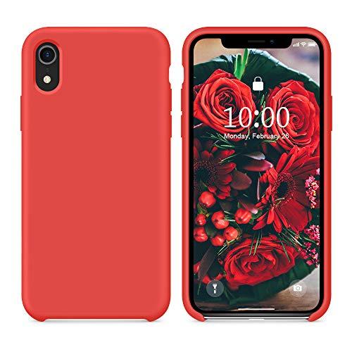 SURPHY Cover iPhone XR, Custodia per iPhone XR Silicone Slim Cover Antiurto con Morbida Microfibra Fodera, Anti-Graffio Cover Case per iPhone XR 6.1 Pollici (2018),Rosso