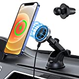 15W Magnetic Car Wireless Charger for iPhone 12/12 Pro/ 12 Pro Max/12 Mini, Auto-Alignment Air Vent Dashboard Car Charging Mount - Compatible with MagSafe Fast Charging