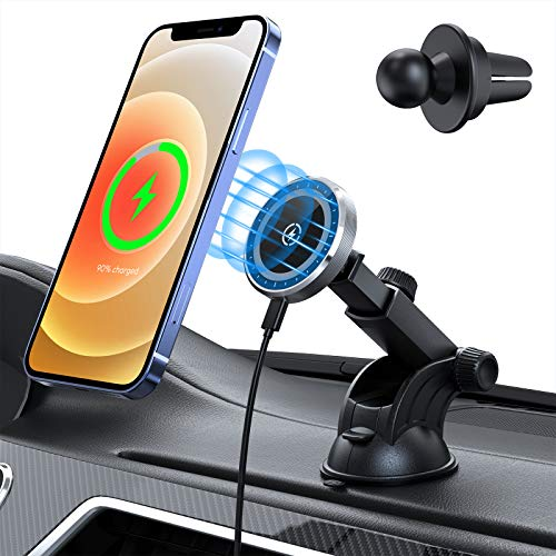 15W Magnetic Wireless Car Charger for iPhone 12/12 Pro/ 12 Mini/ 12 Pro Max AutoAlignment Air Vent Dashboard Car Mount Holder Charger  Compatible with MagSafe Magnetic Charging