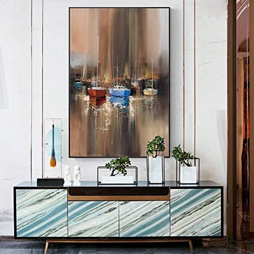 YuanMinglu Paisaje Marino Abstracto Pintura al óleo Cartel y Foto Arte de la Pared Barco de Pesca Decorar Pintura para Sala de Estar Pintura sin Marco 60x90cm