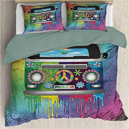 House Duvet Cover Bedding Set - Old Style Hippie Van with Dripping Rainbow Paint Mid 58s Youth Revolution Movement Theme - Decorative 3 Piece Bedding Set with 2 Pillow Shams - Twin Size - Multi