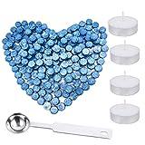 300 bastoncini ottagonali di ceralacca + 4 candele da tè + 1 cucchiaio da ceralacca, kit ...