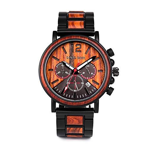 DODO DEER Herren Natur Hölzerne Uhr Multifunktionale Quartz Analog Armbanduhr mit Kalender Anzeige Chronograph-Funktion Hölzerne Armband für Männer (Walnuss)