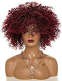 XZGDEN Bien 15 Pelucas rizadas rizadas Rojas Afro Kinky Curly Hair Human Lace Frontal Pelucas Delanteras para Mujeres Negras, 150 Densidad Remy Hair Human Hairline