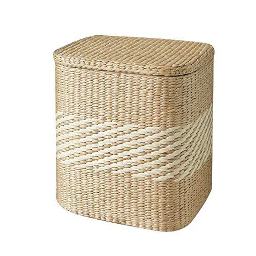 MMWYC Tabouret de Rangement Repose-Pieds Creative Stockage Siège Boîte Pouffe Chaise Ottoman avec Couverture Footstool Papier Composite Vigne (Size : 33 * 27 * 38cm)