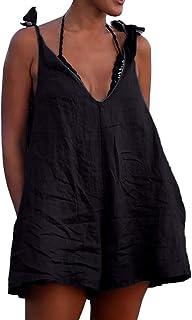 Topgee Women Pocket Jumpsuit Shoulder Bandage Leopard V-Neck Herm Long Rompers