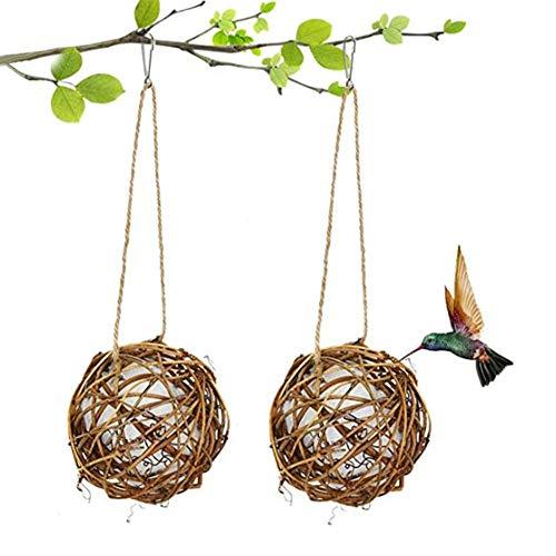 2er Pack Kolibri Nesting, Handgewebtes Rattan Globe Kolibri Haus Mit Baumwolle Zum Nisten, Gesamtlänge 35cm