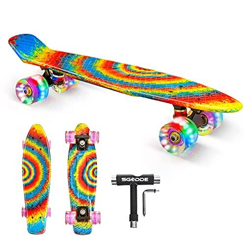 SGODDE Skateboard Komplette 56cm/22 Mini Cruiser Board Retro Komplettboard für Anfänger Kinder Jugendliche Erwachsene,56x15cm Komplett Board ABEC-11 Kugellager,LED PU Leuchtrollen,T-Tool