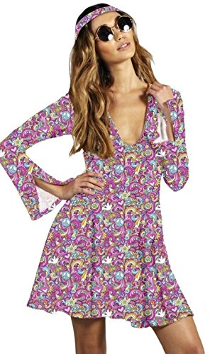 1970s Psychedelic Trippy Plunge Skater Dress with Matching Headpiece. Five sizes from 8 to 16.