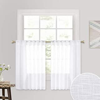Linen Wave White Sheer Curtains - Semi- voile Textured Pattern Half Window Drapes for Cafe Tiers, Small Window Covering for Kitchen Kids Nursery Bathroom, Wide 52 x Long 36 per Panel, 2 Panels