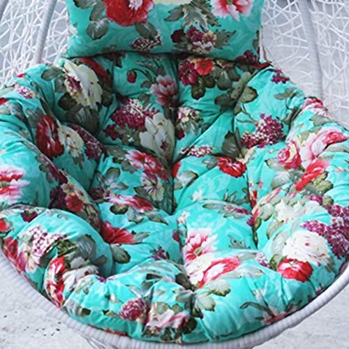 DIELUNY Cojín redondo para silla con columpio, cojines acolchados para colgar en el balcón, ratán y mimbre, alfombrilla trasera con cremallera, lavable, 105 x 105 cm